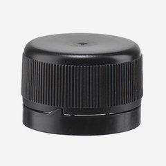Muanyag zárókupak,szájméret 28mm, fekete