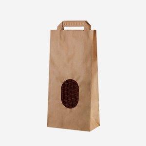 Szalagfüles papírtáska,2 kg-os, barna,ablakos