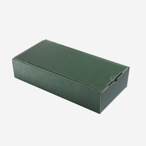 Ajándékdoboz hullámkartonból, szín:zöld