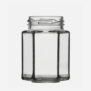 Hatszög üveg,116 ml,átlátszó,szájforma:TO48