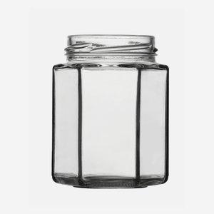 Hatszög üveg,190 ml,átlátszó,szájforma:TO58
