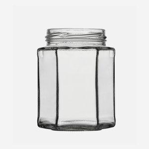 Hatszög üveg,278 ml,átlátszó,szájforma:TO63