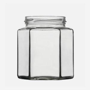 Hatszög üveg,390 ml,átlátszó,szájforma:TO70