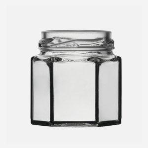 Hatszög üveg,47 ml,átlátszó,szájforma:TO43