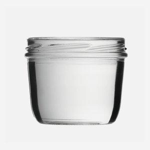 Tároló üveg,230 ml,átlátszó,szájforma:TO82