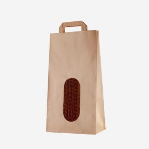 Szalagfüles papírtáska, 5 kg-os, natúr barna