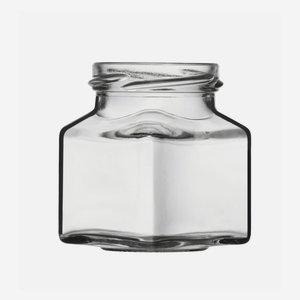 Négyszögletu üveg,140ml,fehér,száj:TO-53