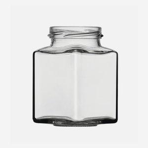 Négyszögletu üveg,212ml,fehér,száj:TO53