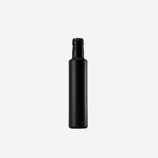 Dorica üveg, 250 ml, matt-fekete,szájforma:PP 31,5