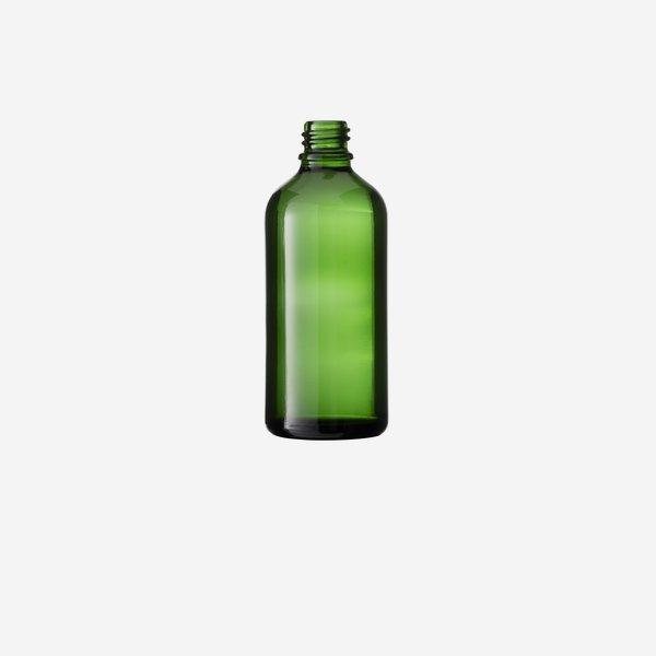 Cseppentös üveg,zöld,100 ml,szájforma GL-18