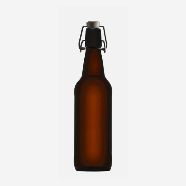 Csatos üveg,500ml,barna,szájforma:csat