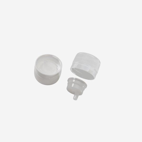 Csavaros kupak csepegteto betéttel PP 28 mm, fehér